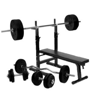Træningsbænk + 100 kg